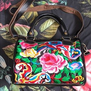 Leather and Floral Embroidered Handbag